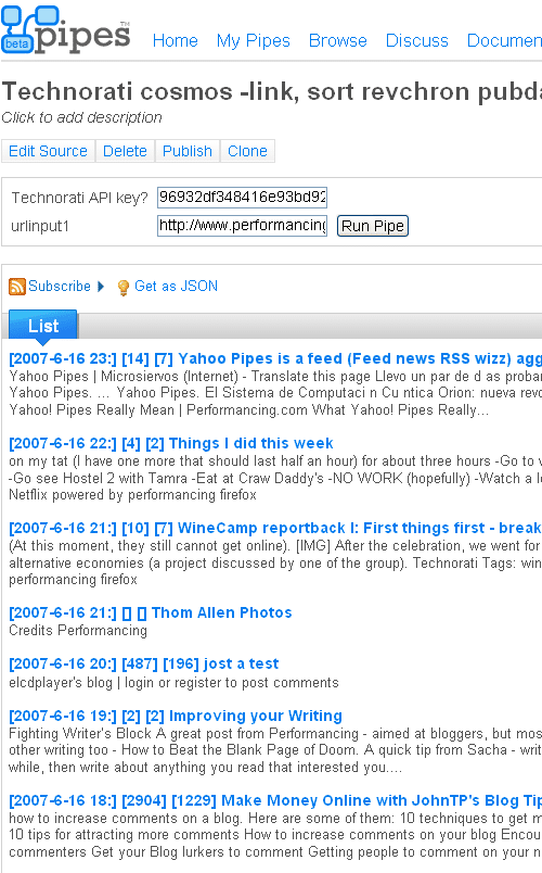 Technorati Cosmos query from Yahoo Pipes - example results snapshot